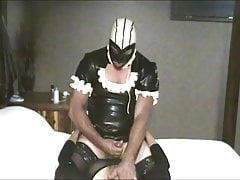 Latex Maid Cums Pegging Couple
