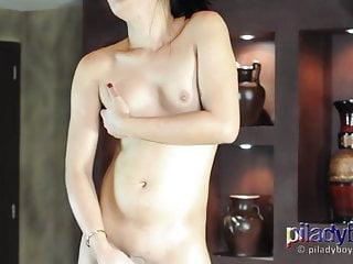 Teenager Filipino Ladyboy dancing and grabbing her tiny cock