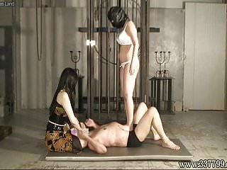 Two japanese femdom kyouka hair train slave...