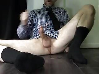 With shirt tie hairy legs...