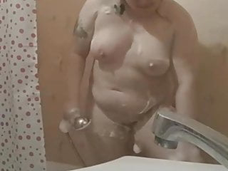 beautiful bbw in the shower
