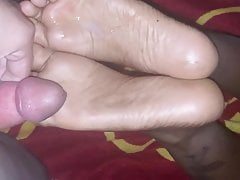 Ebony Footjob and cum on soles