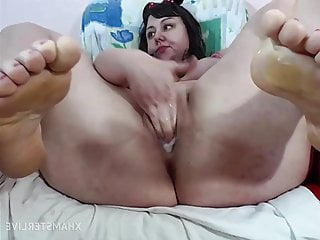 Wide soles toes and feet fingers her wet...