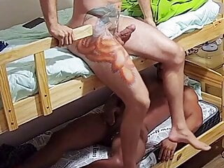 2 Bunk Buddies did not know the other one were jerking off