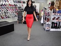 Sexy Lady In Taut Crimson Skirt And High Heels