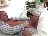 Mature anal nurse and patient in the hospital.